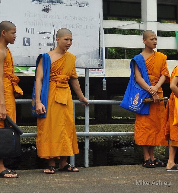 Four Young Monks Waiting for a Boat Ride by Mike Ashley