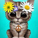 Niedlicher Kätzchen Hippie von jeff bartels