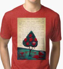 Alice in Wonderland Roses Red Tri-blend T-Shirt
