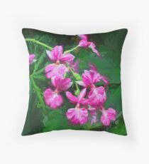 Painterly Pink Orchid Spray Throw Pillow
