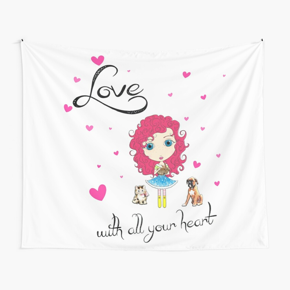 Love With All Your Heart Wall Tapestry