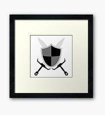 Sword and Shield - Black Framed Print