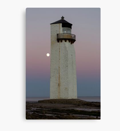 Southerness Lighthouse at Moonrise Canvas Print
