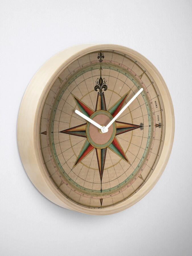 Alternate view of Vintage Compass Rose Diagram (1664) Clock