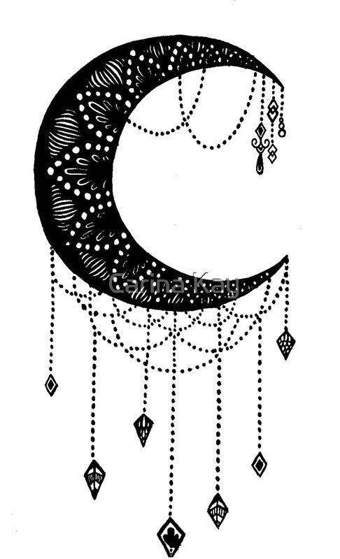crescent moon tattoo design photographic prints by carina kay redbubble. Black Bedroom Furniture Sets. Home Design Ideas