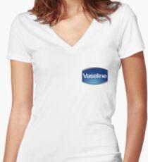 Camiseta entallada de cuello en V Vaselina (mejor calidad)