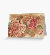 Vintage Coffee Roses Greeting Card