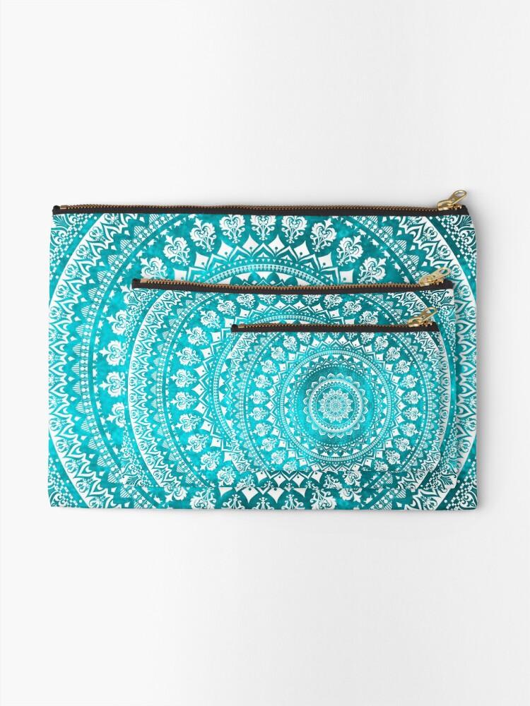 Alternate view of Mandala Turquoise Zipper Pouch