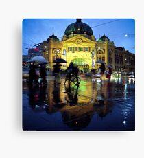 Rush hour in the rain Canvas Print
