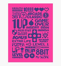 Arcade Game Text Interface Graphics - Magenta Photographic Print