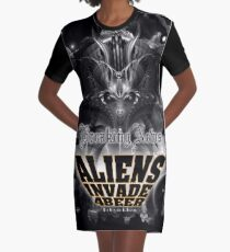 Aliens Invade 4 Beer Galaxy Attack Graphic T-Shirt Dress