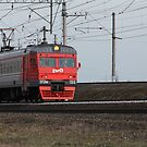 Commuter train Russian Railways in motion  by mrivserg