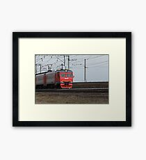 Commuter train Russian Railways in motion  Framed Print