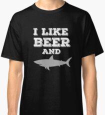 I Like Beer and Sharks Funny T-Shirt Shark Week Predator Classic T-Shirt