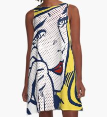 Crying Girl, Homage to Roy Lichtenstein A-Line Dress