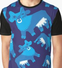 Whimsical seamless pattern with flat cows Graphic T-Shirt
