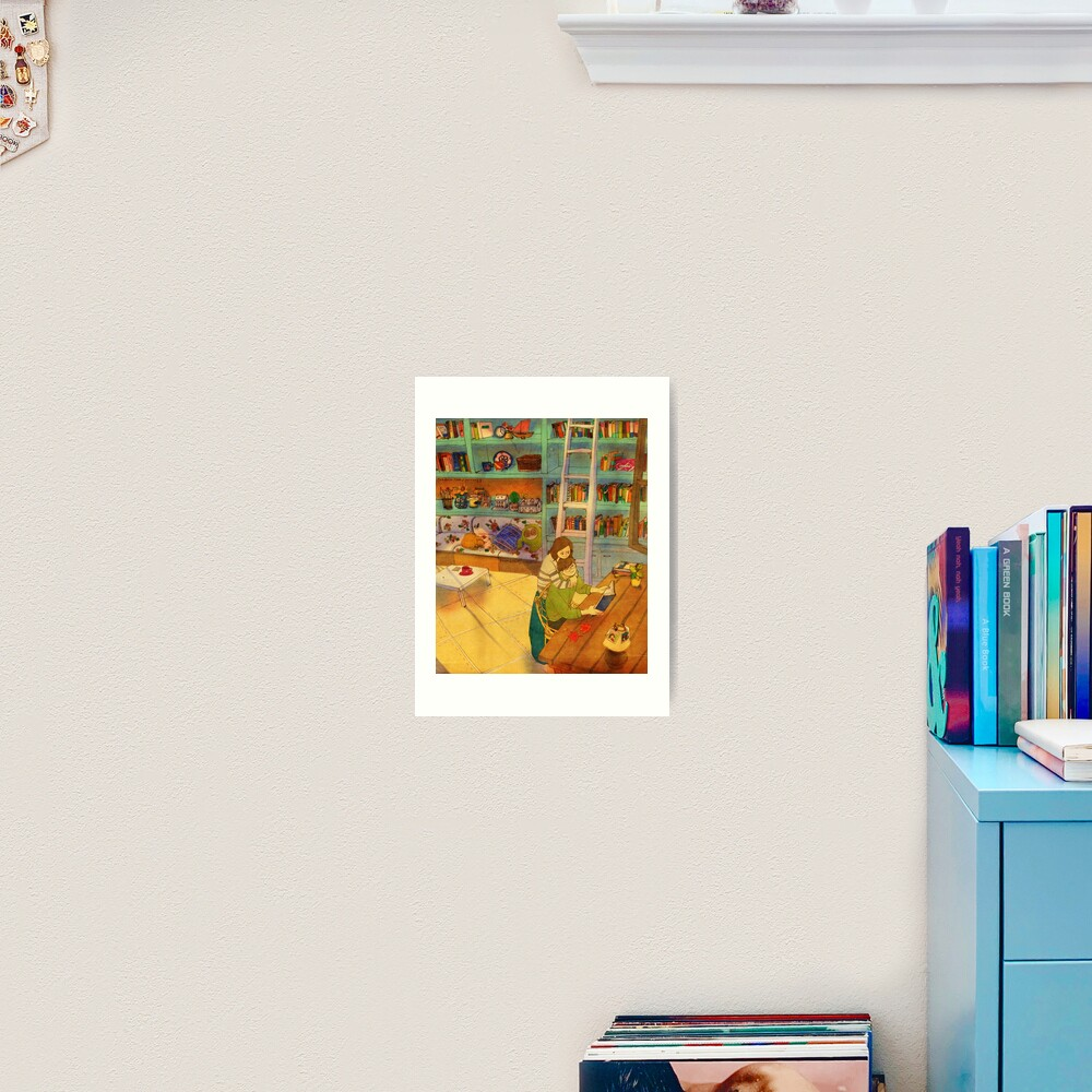 Reading a book Art Print