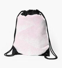 Pastel Pink and White Geometric Lino-Textured Print Drawstring Bag