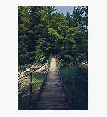 Simple suspension bridge over river Idrijca, Slovenia Photographic Print