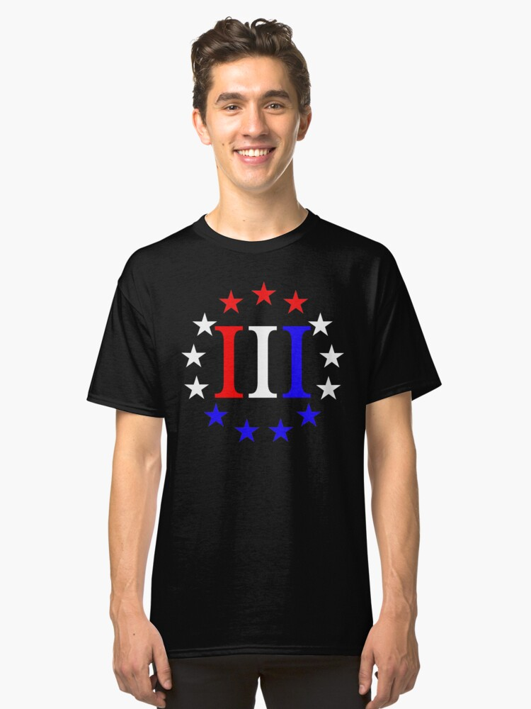 3 Percent Red White and Blue  Classic T-Shirt Front