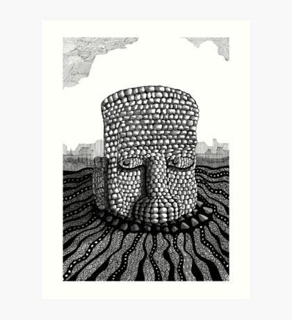 214 - STONE HEAD - INK - 2007 Art Print