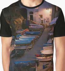 Cinque Terre Boats at Night Graphic T-Shirt