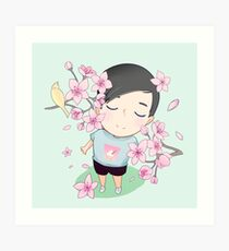 Phil and Cherry Blossoms  Art Print