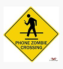 Phone Zombie Crosswalk Sign Photographic Print