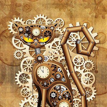 Steampunk Cat Vintage Style by BluedarkArt
