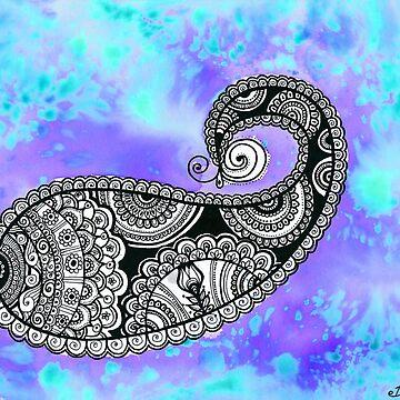 Sky Blue wall Art decor, Paisley Zentangle painting by DhanaART