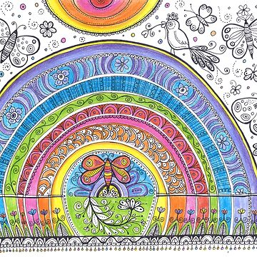 Rainbow Colorful Original painting, Butterfly Sun Drawing by DhanaART