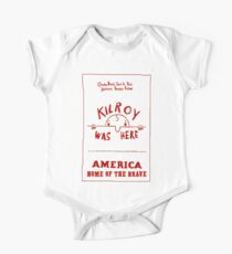 KILROY WAS HERE: Vintage 1950 Craze Saying Print One Piece - Short Sleeve