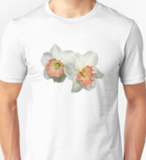 Apricot and White Jonquil Daffodil Flowers with Dewdrops Macro T-Shirt