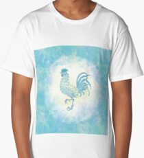 Watercolor Farmhouse Rooster in blue Long T-Shirt