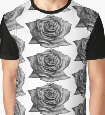 Black white realistic rose flower, drawn in pencil. Art illustration, surreal bud rose Graphic T-Shirt
