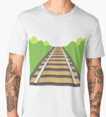 Railway Tracks Landscape (Minimalist Art) Men's Premium T-Shirt