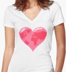 World Map Heart Women's Fitted V-Neck T-Shirt
