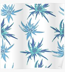 Blue, bright, bud flowers. Summer, floral, gentle, seamless pattern. Poster