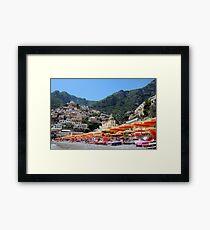 Colorful Beach Umbrellas Positano Framed Print