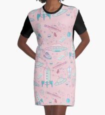 Galaxy Babe Pattern Graphic T-Shirt Dress