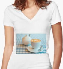 Morning cup of coffee in white cup Women's Fitted V-Neck T-Shirt