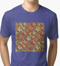 Abstract Polygon Multi Color Low Poly Triangle Quilt Tri-blend T-Shirt