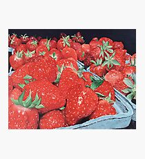 Strawberries ~ Hyperrealistic Oil Painting Photographic Print