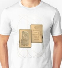 Fortuna Suisse Minted Gold Bar - Obverse and Reverse over White LeatherFortuna Suisse Minted Gold Bar - Obverse and Reverse over White Leather Unisex T-Shirt