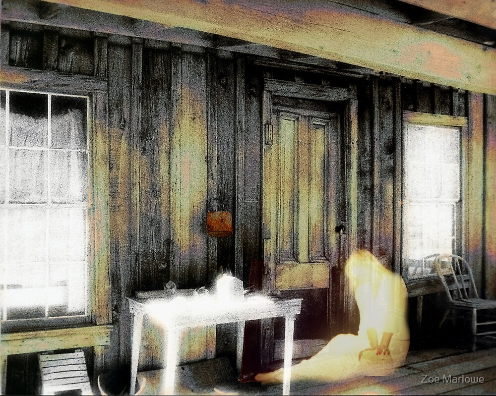 Ghostly Girl Sitting On Porch by Zoe Marlowe