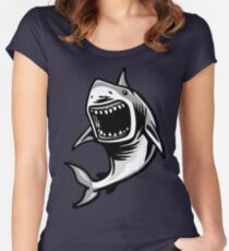 Angry Great White Shark Mouth Open Logo Women's Fitted Scoop T-Shirt
