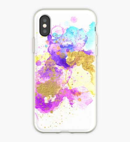Abstract Watercolour - Purple and Gold iPhone Case