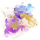 Abstract Watercolour - Purple and Gold by Jacqui Frank