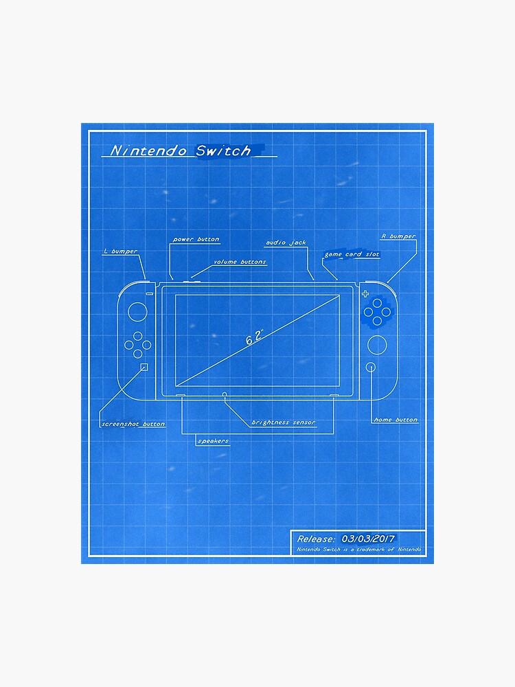 Nintendo Switch Blueprint | Photographic Print