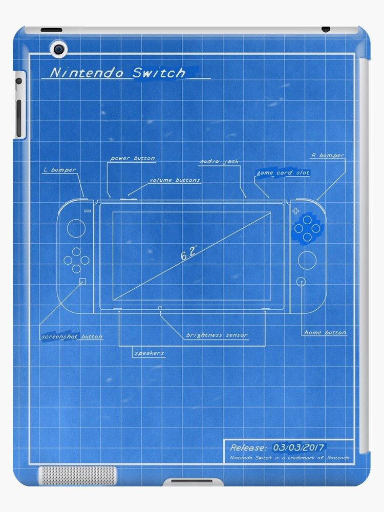 Nintendo switch blueprint ipad cases skins by rocksoft redbubble nintendo switch blueprint malvernweather Images
